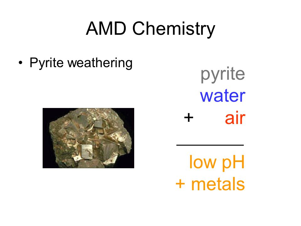 AMD Chemistry Pyrite weathering pyrite water + air low pH + metals