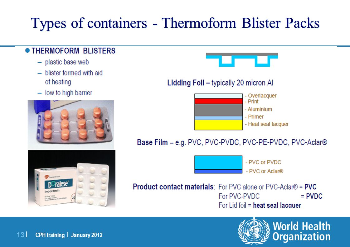 CPH training | January 2012 13 | Types of containers - Thermoform Blister Packs