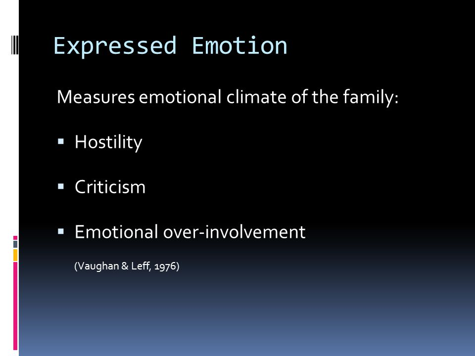 Expressed Emotion Measures emotional climate of the family:  Hostility  Criticism  Emotional over-involvement (Vaughan & Leff, 1976)