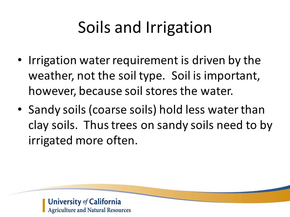 Soils and Irrigation Irrigation water requirement is driven by the weather, not the soil type.