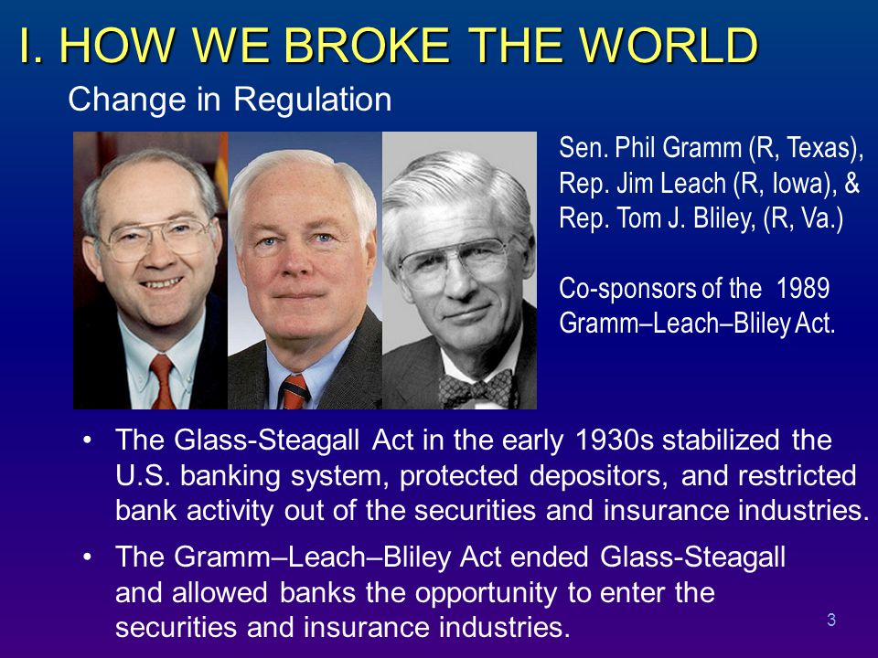 Early Warnings The case for preserving the Glass-Steagall Act included the following arguments.