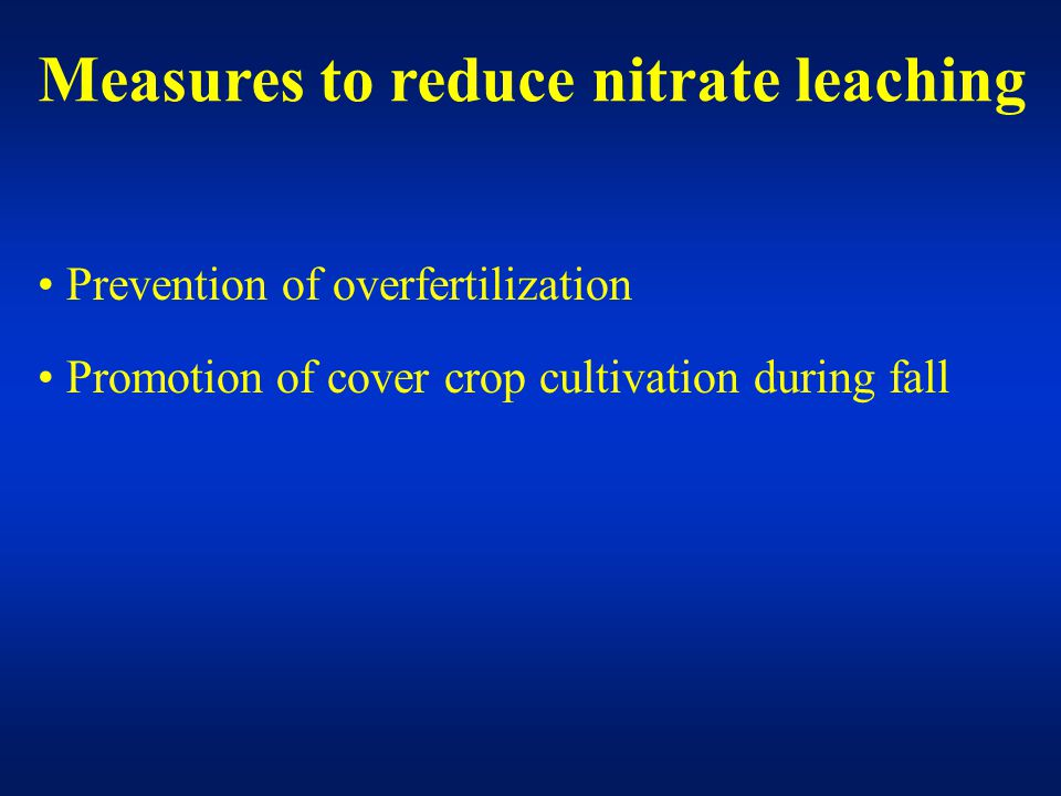 Prevention of overfertilization Promotion of cover crop cultivation during fall Measures to reduce nitrate leaching
