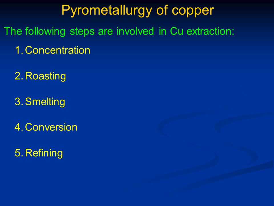 Pyrometallurgy of copper 4.