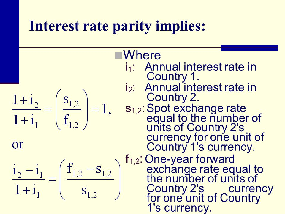 Interest rate parity implies: Where i 1 : Annual interest rate in Country 1.