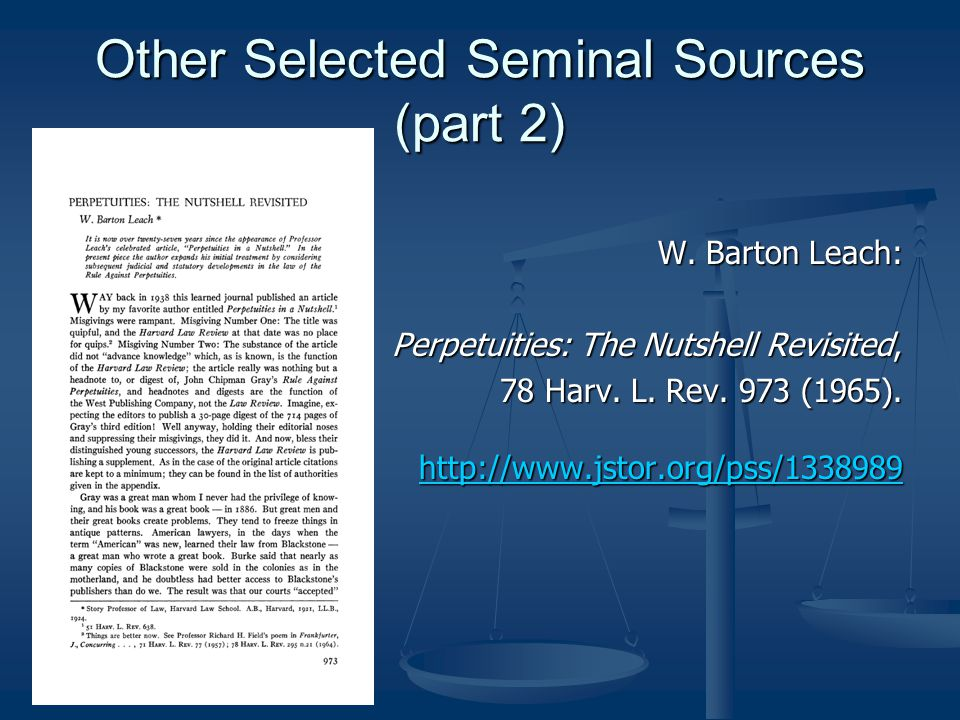 Other Selected Seminal Sources (part 2) W.
