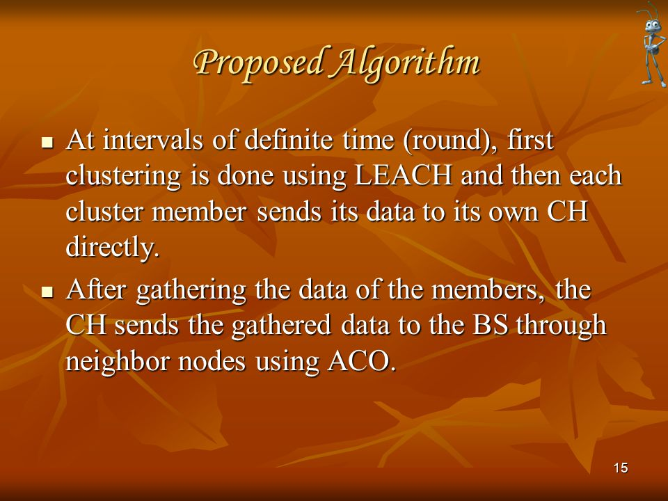 Proposed Algorithm At intervals of definite time (round), first clustering is done using LEACH and then each cluster member sends its data to its own CH directly.