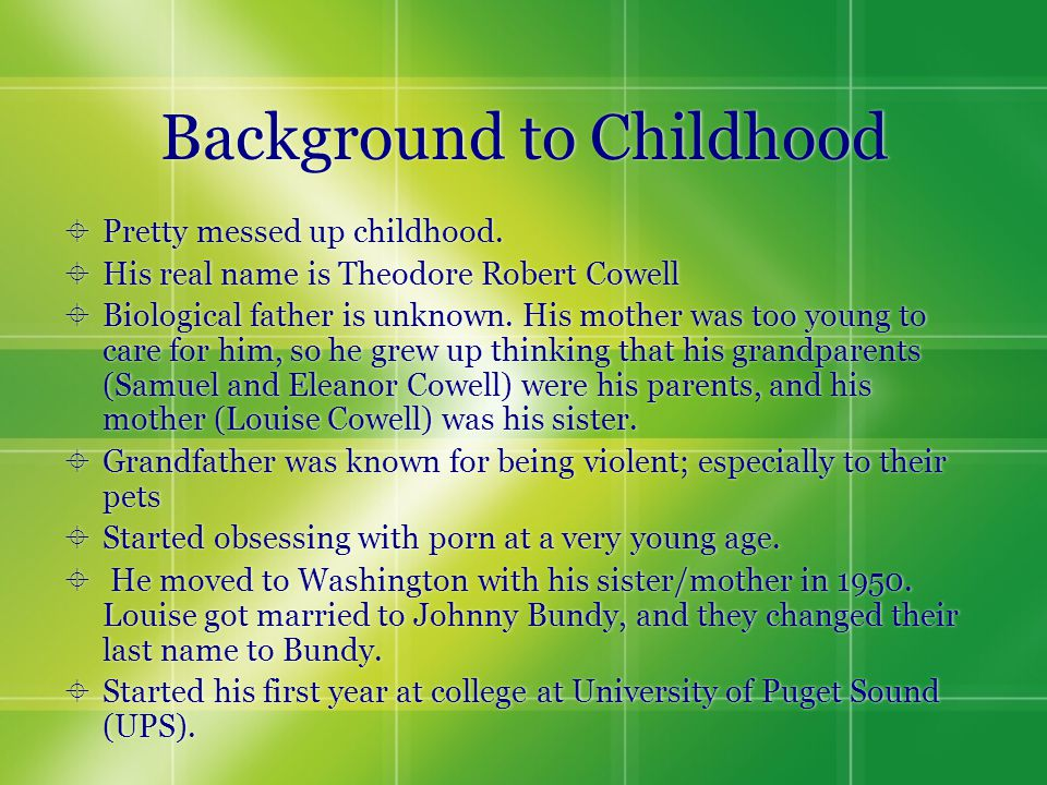 Background to Childhood  Pretty messed up childhood.