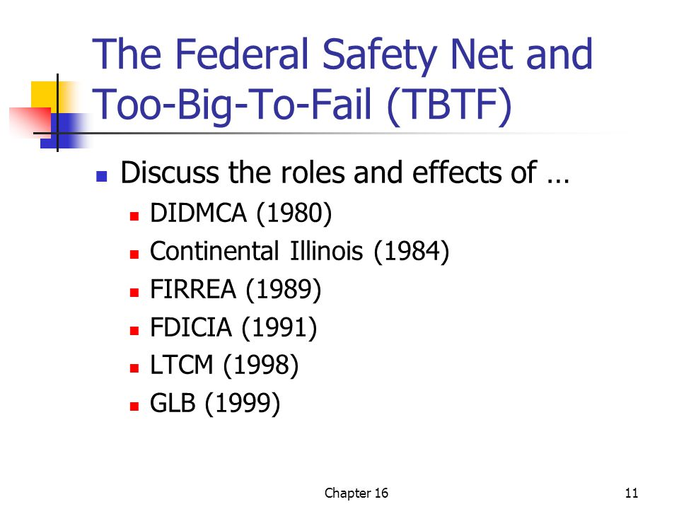 Chapter 1611 The Federal Safety Net and Too-Big-To-Fail (TBTF) Discuss the roles and effects of … DIDMCA (1980) Continental Illinois (1984) FIRREA (1989) FDICIA (1991) LTCM (1998) GLB (1999)