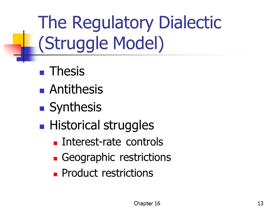 Chapter 1613 The Regulatory Dialectic (Struggle Model) Thesis Antithesis Synthesis Historical struggles Interest-rate controls Geographic restrictions Product restrictions