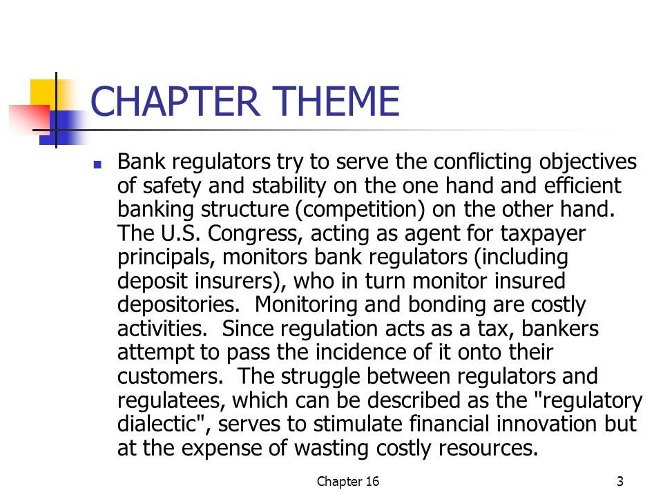 Chapter 1614 Regulation Discussion As a tax Good intentions and unintended evils Jurisdictional tangle of federal regulation The Federal Banking Troika FDIC OCC Fed Role of SEC