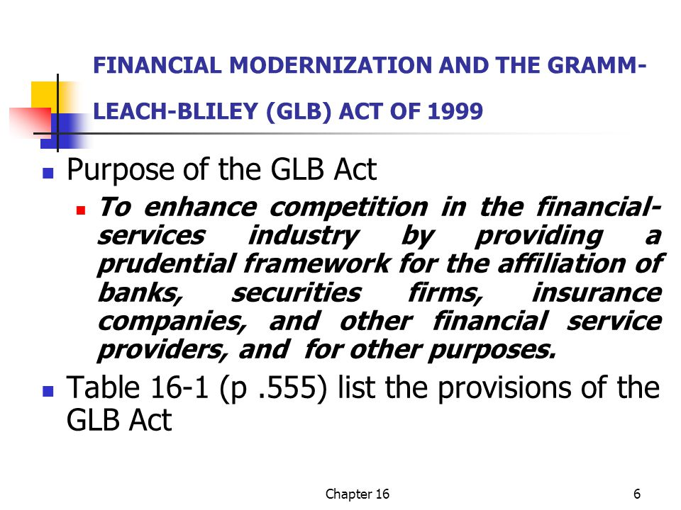 Chapter 166 FINANCIAL MODERNIZATION AND THE GRAMM- LEACH-BLILEY (GLB) ACT OF 1999 Purpose of the GLB Act To enhance competition in the financial- services industry by providing a prudential framework for the affiliation of banks, securities firms, insurance companies, and other financial service providers, and for other purposes.
