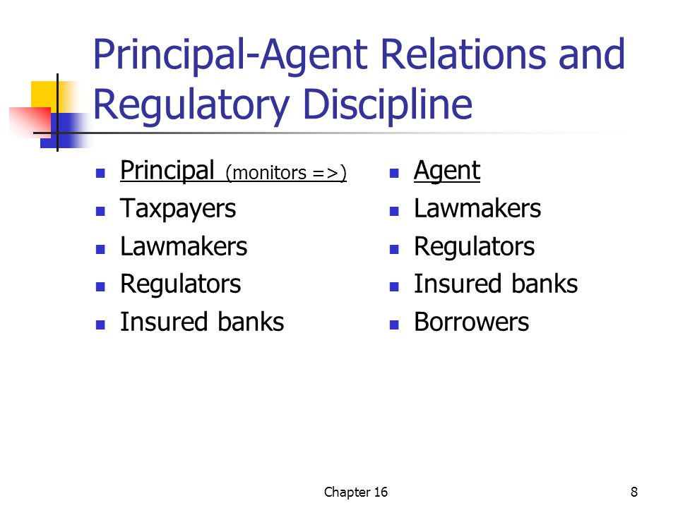Chapter 169 Regulatory Versus Market Discipline Regulatory discipline works through regulatory interference (e.g., the K in TRICK – capital adequacy) Market discipline works through financial markets in terms of the costs of financial distress and the cost of funds (capital)