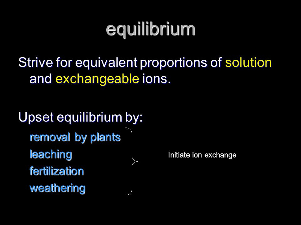 equilibrium Strive for equivalent proportions of solution and exchangeable ions. Upset equilibrium by: removal by plants leachingfertilizationweatheri