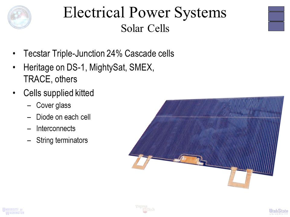 Electrical Power Systems Solar Cells Tecstar Triple-Junction 24% Cascade cells Heritage on DS-1, MightySat, SMEX, TRACE, others Cells supplied kitted –Cover glass –Diode on each cell –Interconnects –String terminators