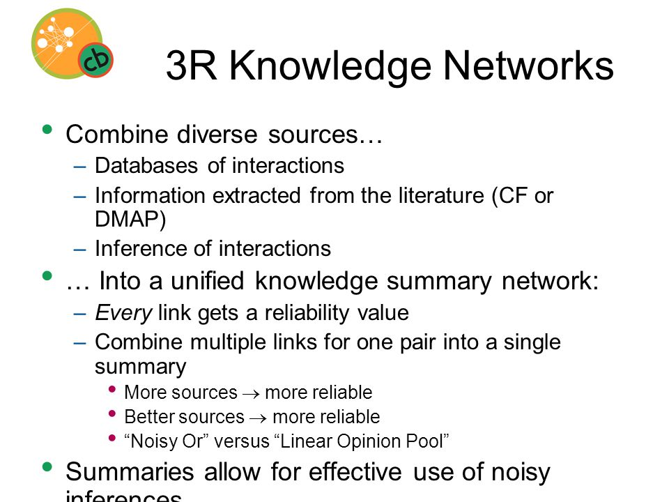 3R Knowledge Networks Combine diverse sources… –Databases of interactions –Information extracted from the literature (CF or DMAP) –Inference of interactions … Into a unified knowledge summary network: –Every link gets a reliability value –Combine multiple links for one pair into a single summary More sources  more reliable Better sources  more reliable Noisy Or versus Linear Opinion Pool Summaries allow for effective use of noisy inferences –[Leach PhD thesis 2007; Leach et al., 2007]