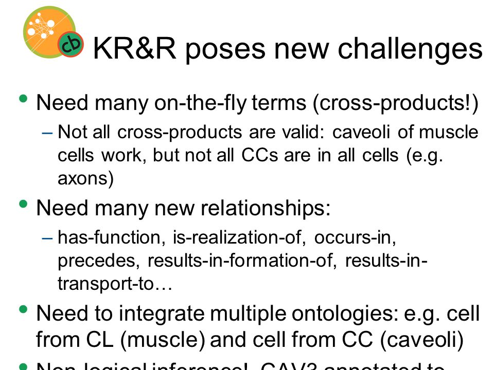 KR&R poses new challenges Need many on-the-fly terms (cross-products!) –Not all cross-products are valid: caveoli of muscle cells work, but not all CCs are in all cells (e.g.