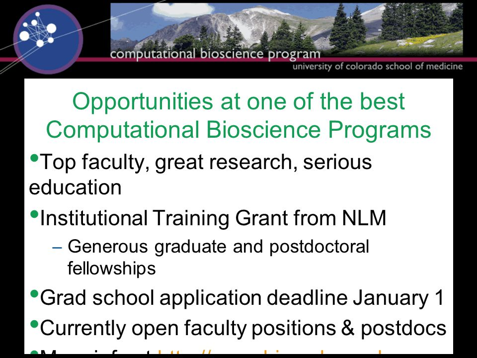 Opportunities at one of the best Computational Bioscience Programs Top faculty, great research, serious education Institutional Training Grant from NL