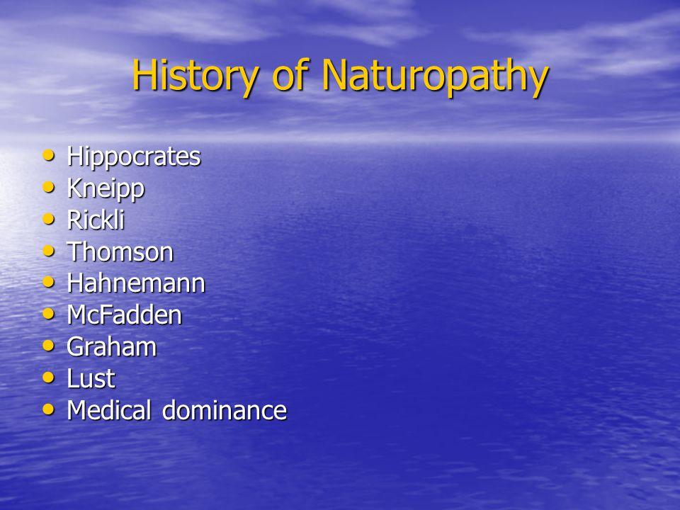 History of Naturopathy Hippocrates Hippocrates Kneipp Kneipp Rickli Rickli Thomson Thomson Hahnemann Hahnemann McFadden McFadden Graham Graham Lust Lu