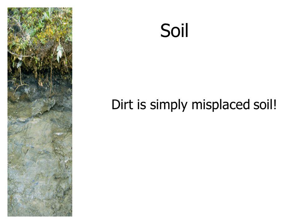 Soil Dirt is simply misplaced soil!