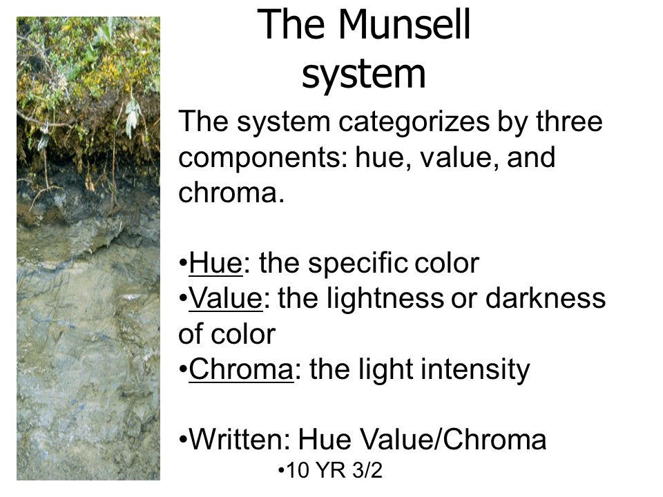 The Munsell system The system categorizes by three components: hue, value, and chroma.