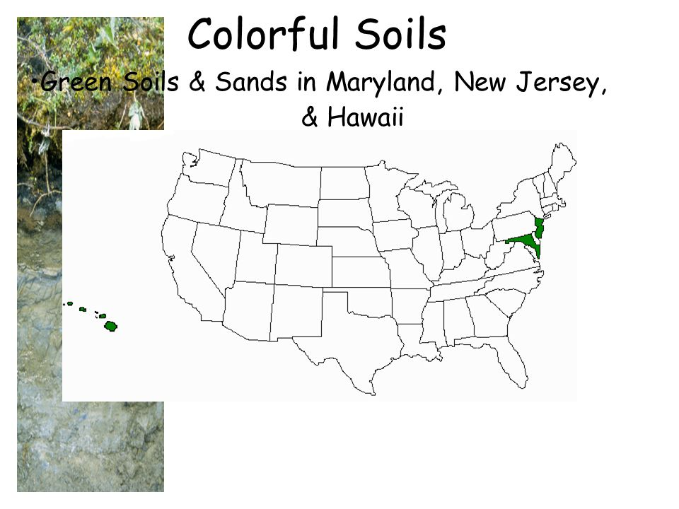 Green Soils & Sands in Maryland, New Jersey, & Hawaii Colorful Soils