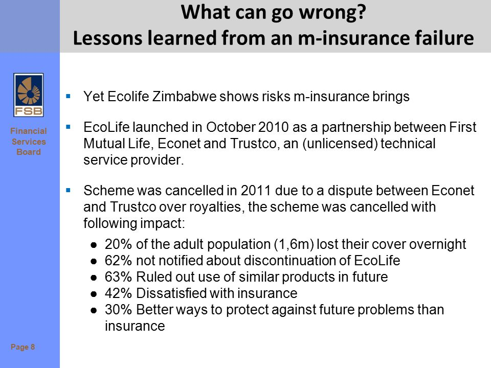 Financial Services Board What can go wrong? Lessons learned from an m-insurance failure  Yet Ecolife Zimbabwe shows risks m-insurance brings  EcoLif