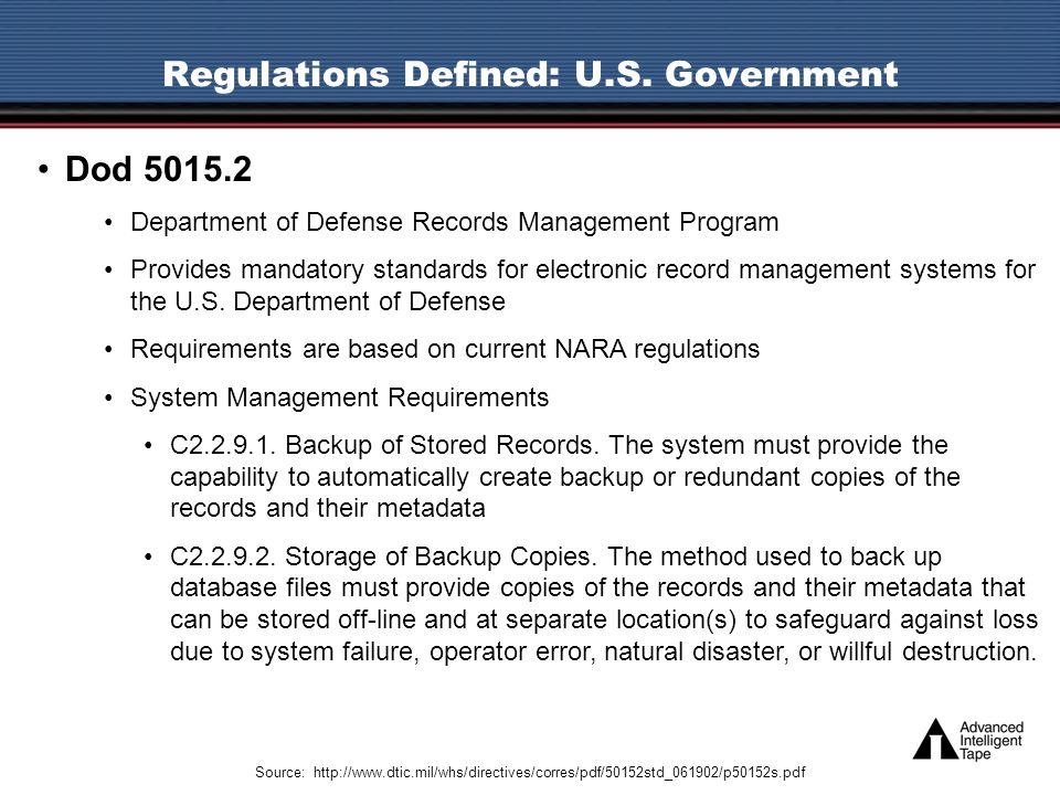 Regulations Defined: U.S.