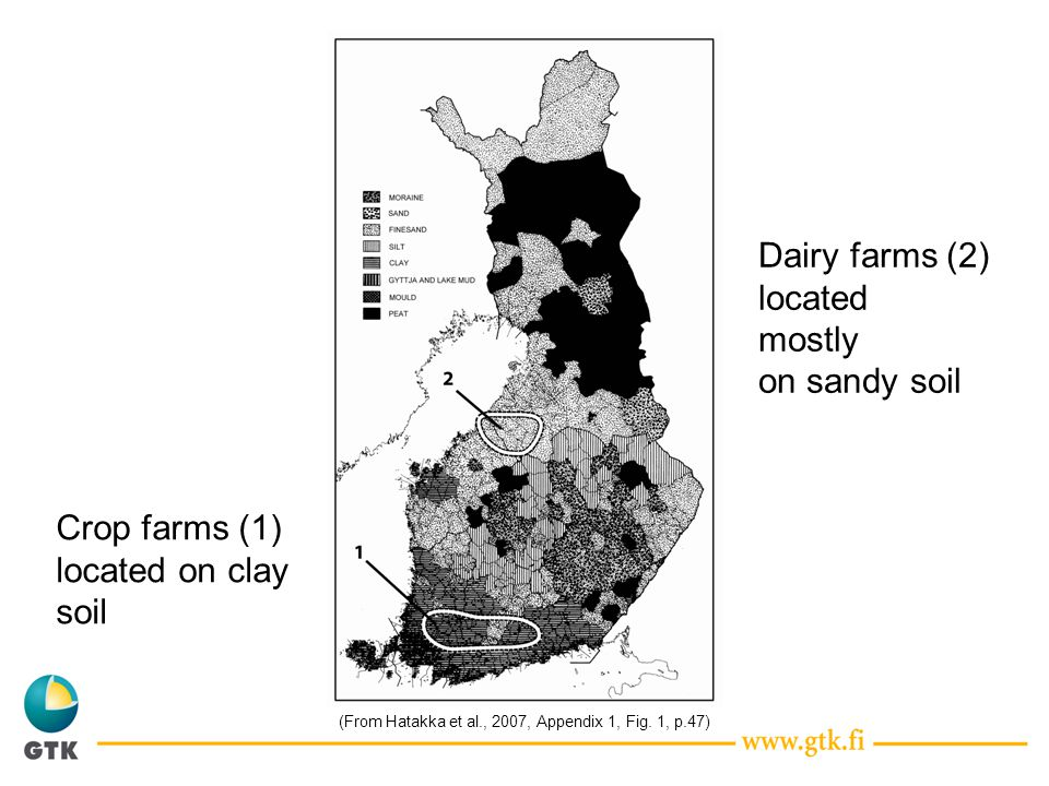 Crop farms (1) located on clay soil Dairy farms (2) located mostly on sandy soil (From Hatakka et al., 2007, Appendix 1, Fig.