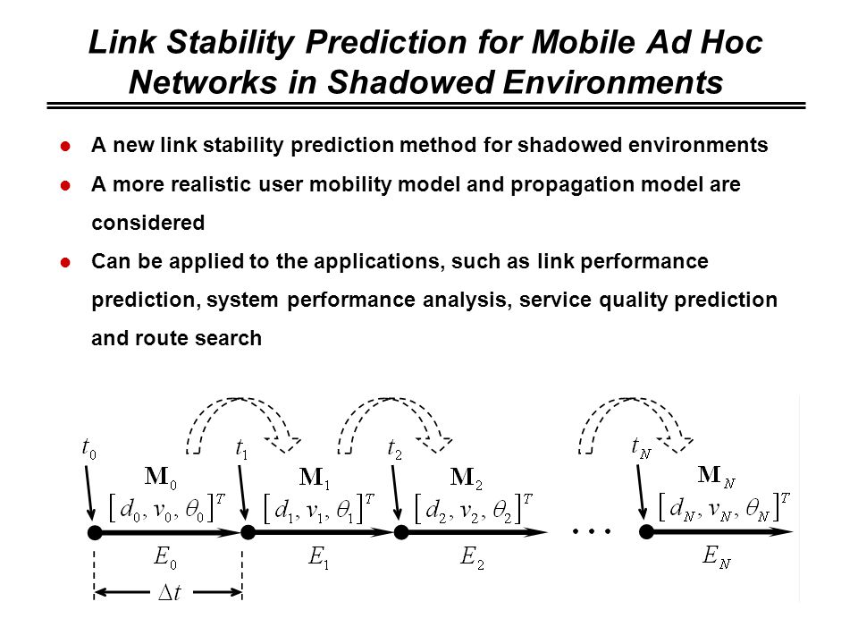 Link Stability Prediction for Mobile Ad Hoc Networks in Shadowed Environments A new link stability prediction method for shadowed environments A more realistic user mobility model and propagation model are considered Can be applied to the applications, such as link performance prediction, system performance analysis, service quality prediction and route search