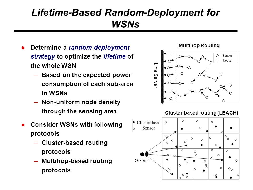 Lifetime-Based Random-Deployment for WSNs Determine a random-deployment strategy to optimize the lifetime of the whole WSN – Based on the expected power consumption of each sub-area in WSNs – Non-uniform node density through the sensing area Consider WSNs with following protocols – Cluster-based routing protocols – Multihop-based routing protocols Server Line Server Multihop Routing Cluster-based routing (LEACH)