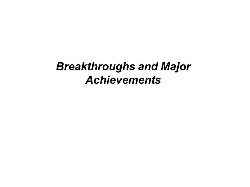 Breakthroughs and Major Achievements