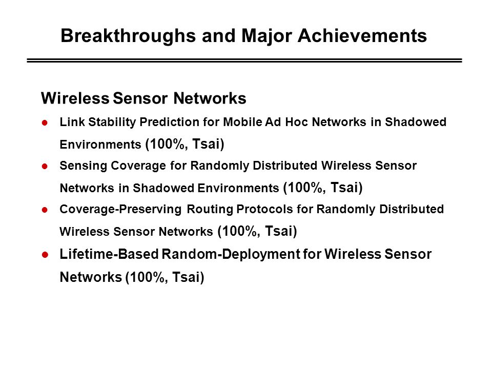 Breakthroughs and Major Achievements Wireless Sensor Networks Link Stability Prediction for Mobile Ad Hoc Networks in Shadowed Environments (100%, Tsai) Sensing Coverage for Randomly Distributed Wireless Sensor Networks in Shadowed Environments (100%, Tsai) Coverage-Preserving Routing Protocols for Randomly Distributed Wireless Sensor Networks (100%, Tsai) Lifetime-Based Random-Deployment for Wireless Sensor Networks (100%, Tsai)