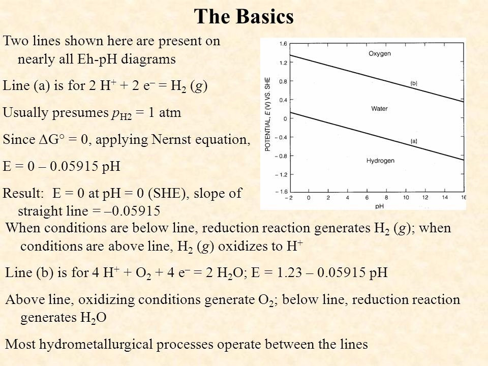 The Basics Two lines shown here are present on nearly all Eh-pH diagrams Line (a) is for 2 H + + 2 e – = H 2 (g) Usually presumes p H2 = 1 atm Since Δ