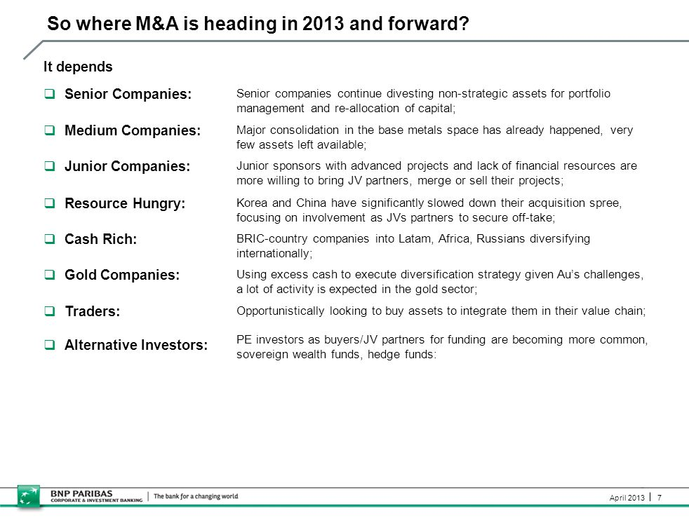 7 April 2013 So where M&A is heading in 2013 and forward? It depends  Senior Companies: Senior companies continue divesting non-strategic assets for