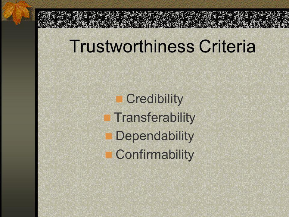 Trustworthiness Criteria Credibility Transferability Dependability Confirmability