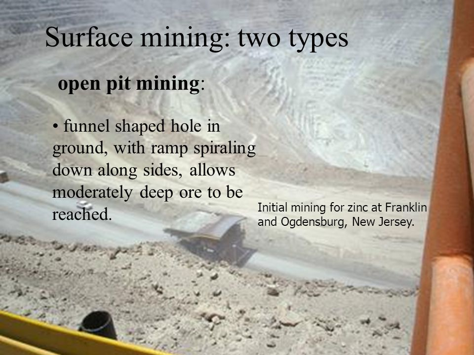 open pit mining: funnel shaped hole in ground, with ramp spiraling down along sides, allows moderately deep ore to be reached.