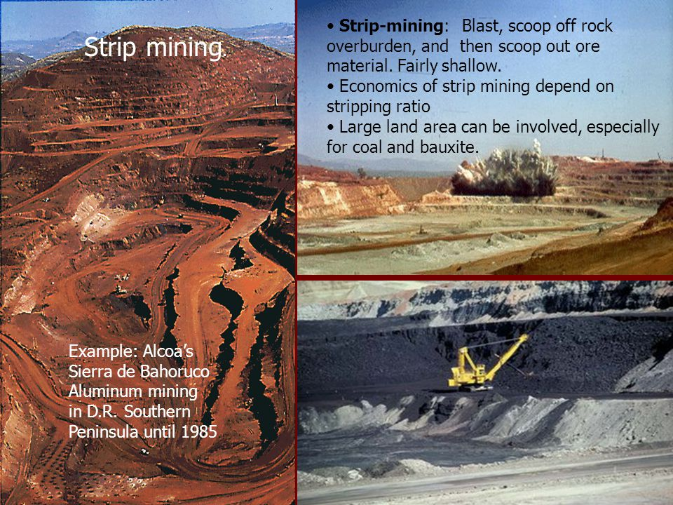 Strip-mining: Blast, scoop off rock overburden, and then scoop out ore material.