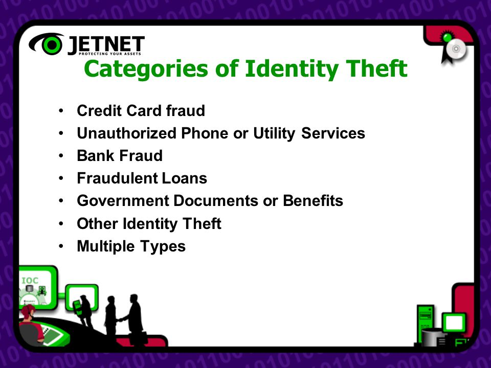 Categories of Identity Theft Credit Card fraud Unauthorized Phone or Utility Services Bank Fraud Fraudulent Loans Government Documents or Benefits Other Identity Theft Multiple Types