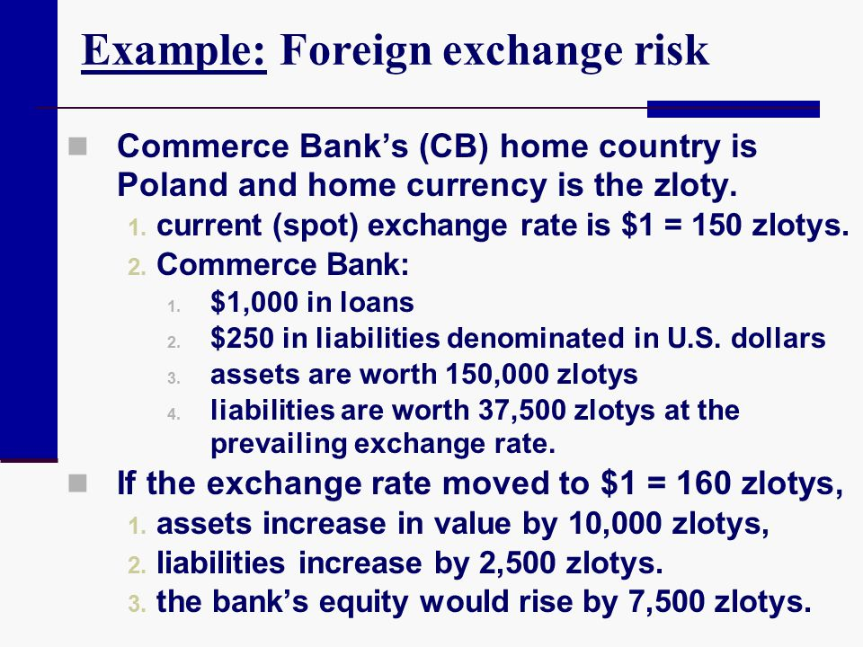 Example: Foreign exchange risk Commerce Bank's (CB) home country is Poland and home currency is the zloty. 1. current (spot) exchange rate is $1 = 150
