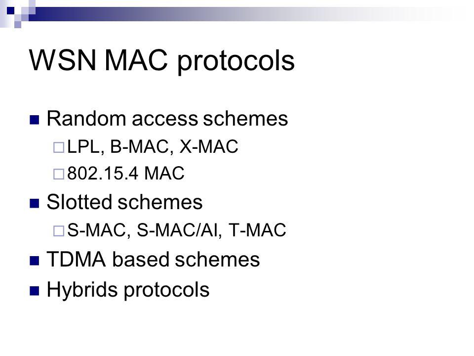 WSN MAC protocols Random access schemes  LPL, B-MAC, X-MAC  802.15.4 MAC Slotted schemes  S-MAC, S-MAC/AI, T-MAC TDMA based schemes Hybrids protocols