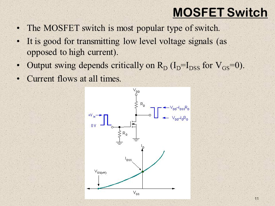 11 MOSFET Switch The MOSFET switch is most popular type of switch.