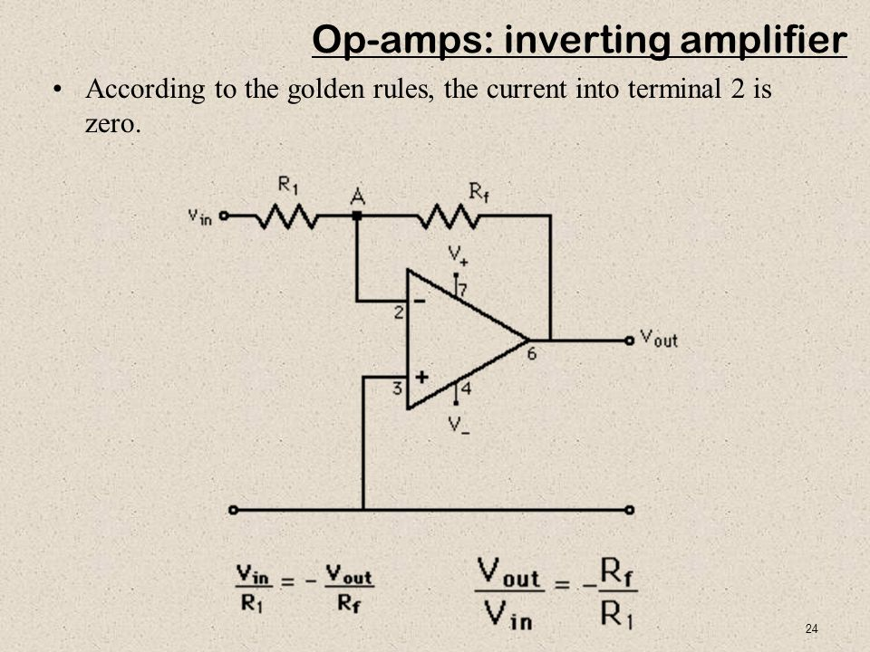 24 Op-amps: inverting amplifier According to the golden rules, the current into terminal 2 is zero.