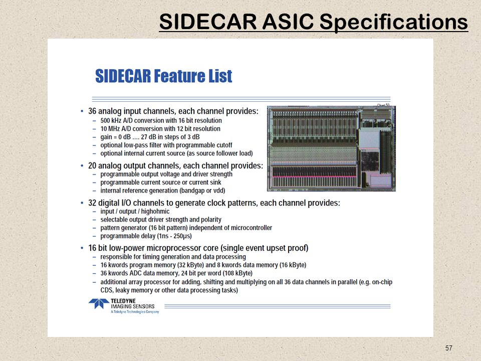57 SIDECAR ASIC Specifications