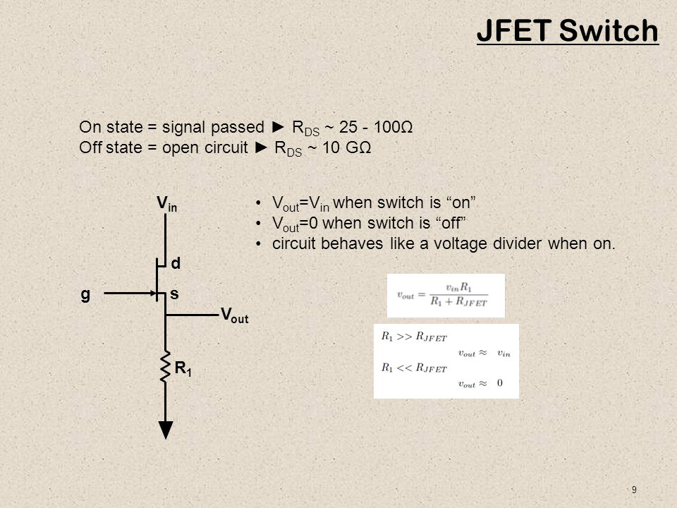 10 FET Switch Operates in Linear Regime linear regime Switch off corresponds to V GS =V GS(off).