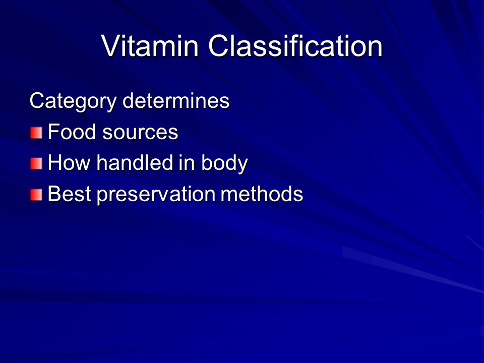 Vitamin History First discovered: fat soluble substance essential for health in 1912-1914 (vitamin A) B complex: 1915-1916 (water soluble nutrient) Vitamin C: isolated 1912 Vitamin D, Vitamin E: 1922 Last vitamin (B12) discovered in 1948 Likely all vitamins have been discovered, since people can be maintained on IV solutions fortified with known vitamins