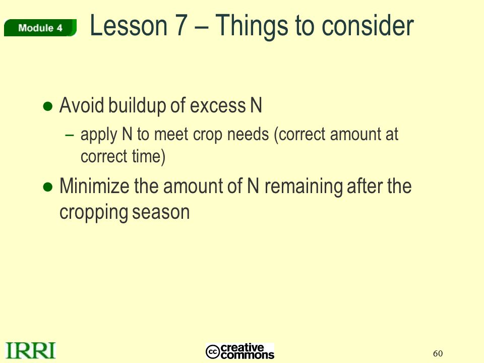 60 ●Avoid buildup of excess N –apply N to meet crop needs (correct amount at correct time) ●Minimize the amount of N remaining after the cropping seas