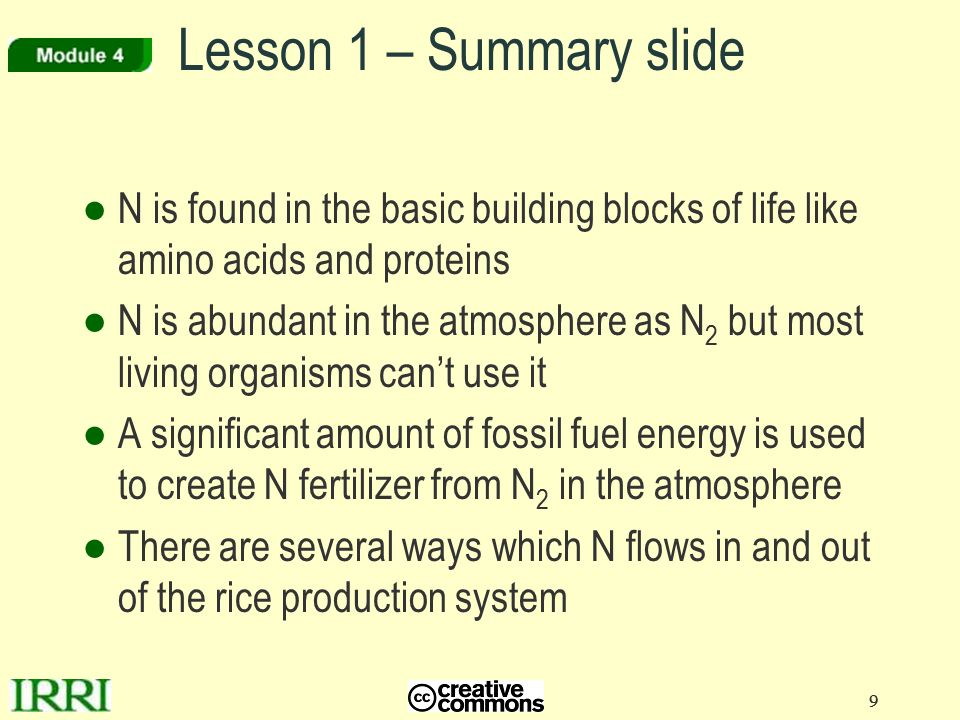 9 9 Lesson 1 – Summary slide ●N is found in the basic building blocks of life like amino acids and proteins ●N is abundant in the atmosphere as N 2 bu