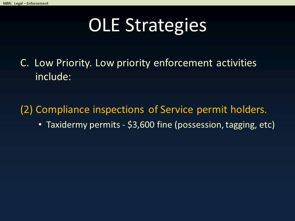 OLE Strategies C.Low Priority.