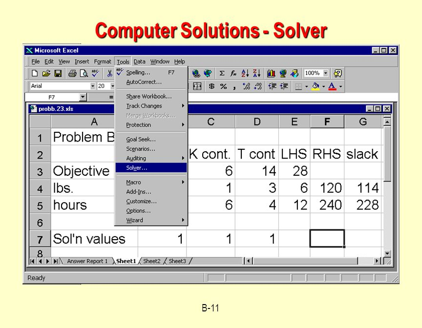 B-11 Computer Solutions - Solver