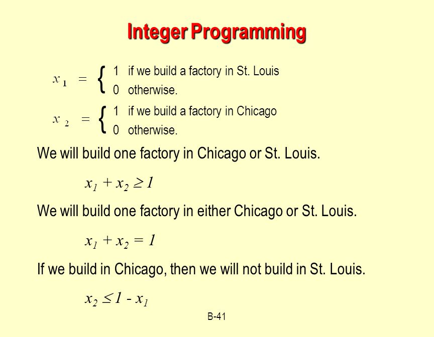 B-41 Integer Programming 1 if we build a factory in St.